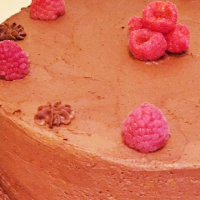 Completely non-dairy chocolate chip raspberry cake